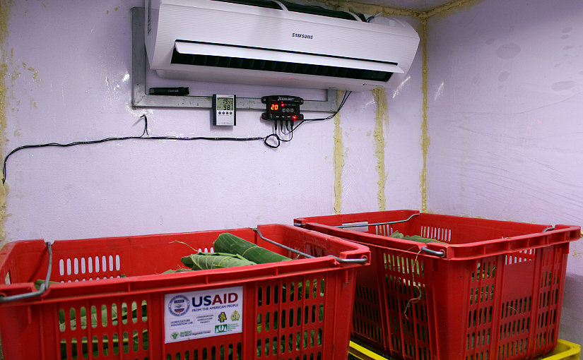 Photo of the coolbot hooked up to an air conditioner above produce crates