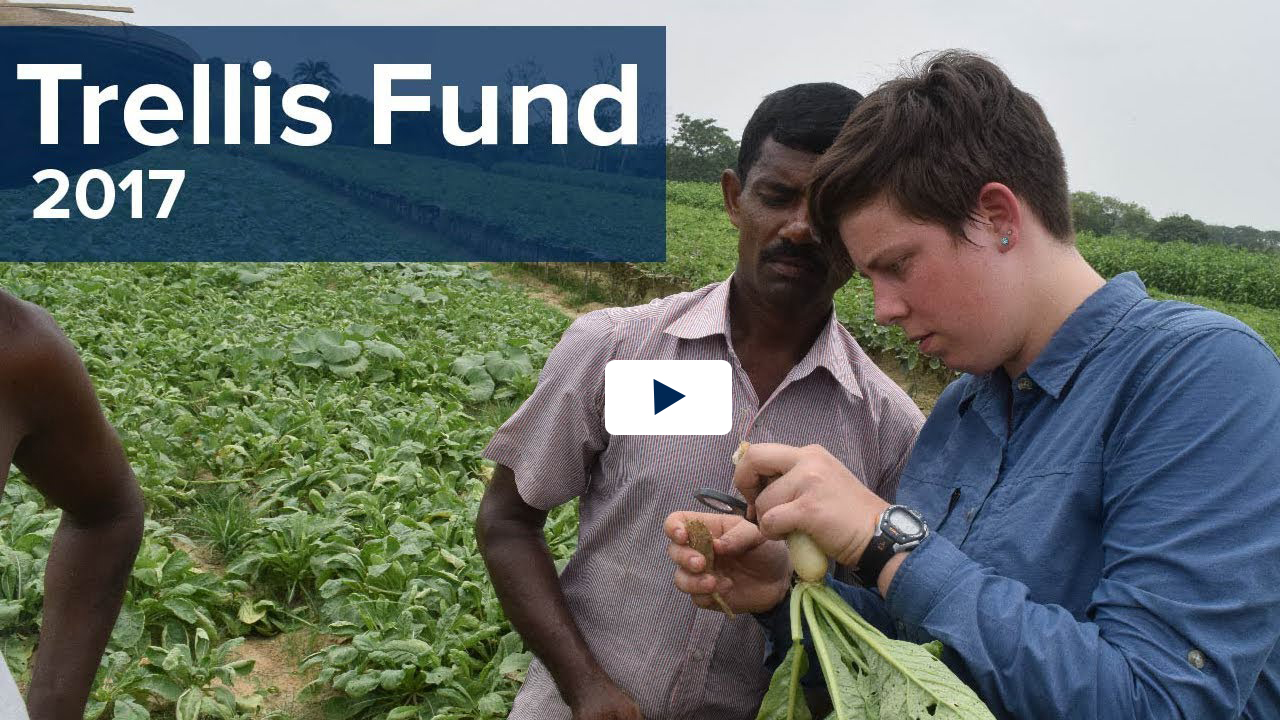 Trellis Fund 2017 text over video clip of student and Bangladeshi professional examining a vegetable in a field