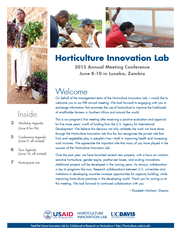 Cover of conference booklet - 2015 Horticulture Innovation Lab - Welcome