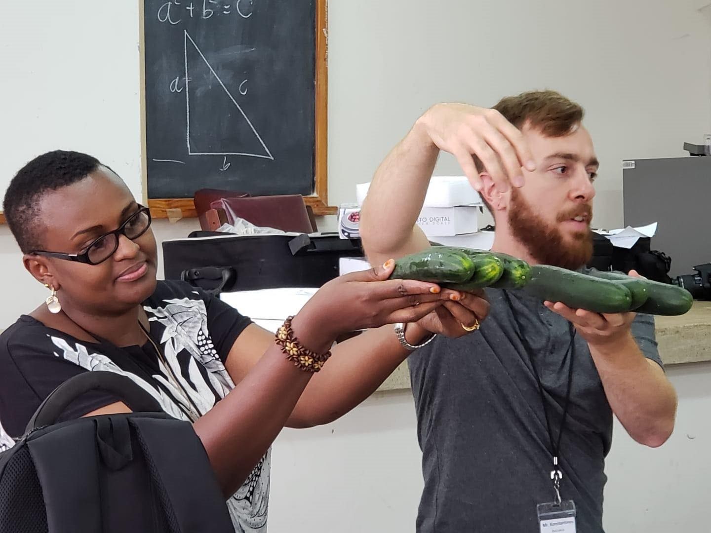 Batziakas teaches students about how to prolong the shelf life of cucumbers.
