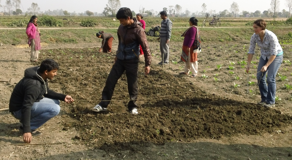 Rachel Suits with Nepali farmers during the Trellis Fund project she worked on as a graduate student.