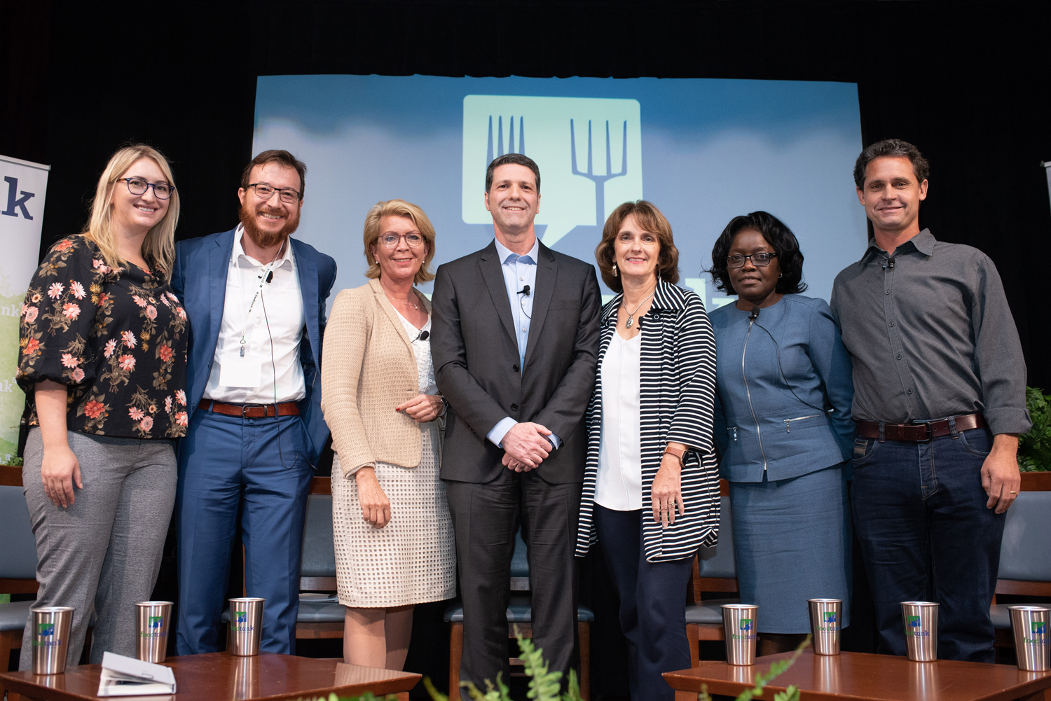 Panel group photo on Food Tank Summit stage