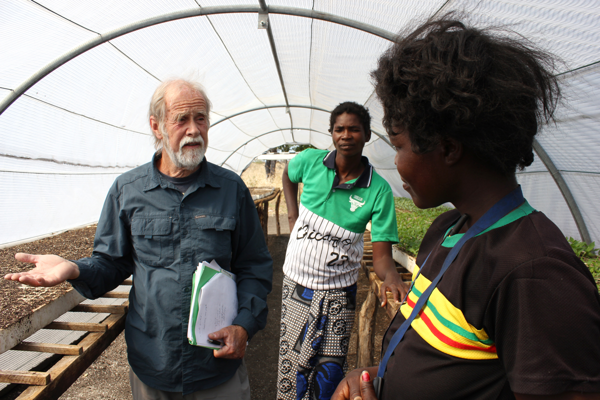 Researcher ask farmers about vegetable seedlings inside a greenhouse tunnel.