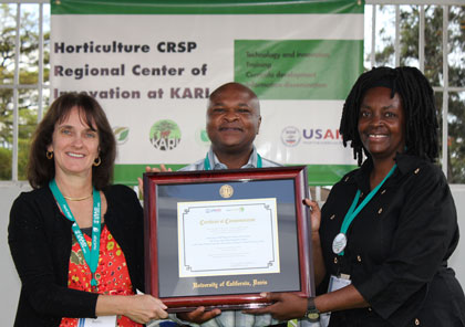 "Three people stand smiling holding a framed award in front of a banner that reads ""Horticulture CRSP Regional Center of Innovation at KARI"""