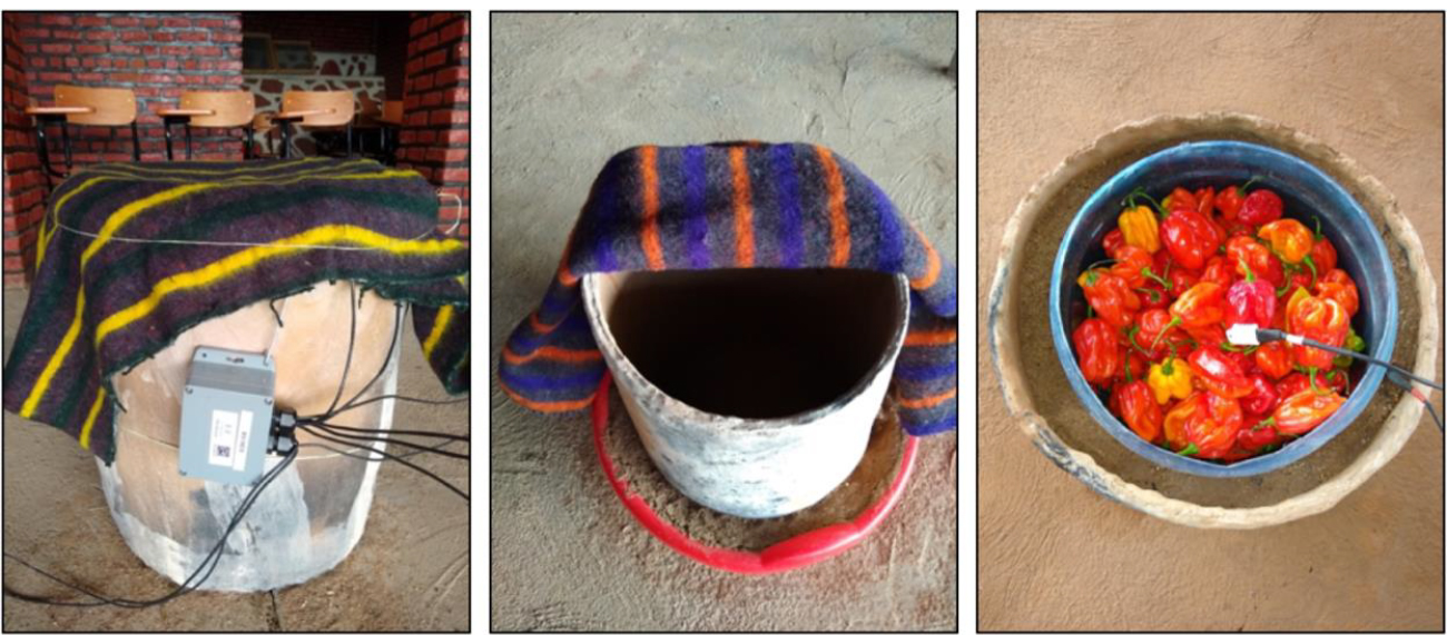 3 photos of clay pot cooler variations - shown covered with a blanked, uncovered, and with peppers inside
