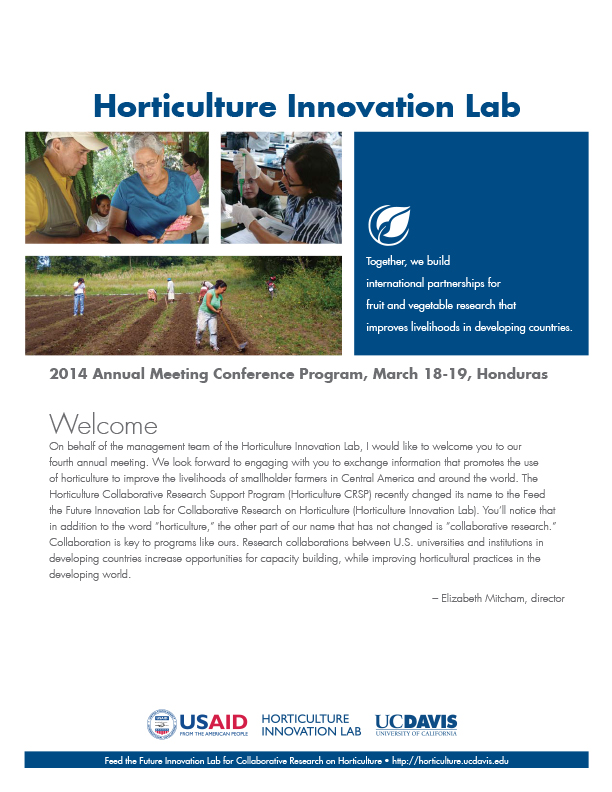 Event booklet cove - Horticulture Innovation Lab, Welcome, photo collage