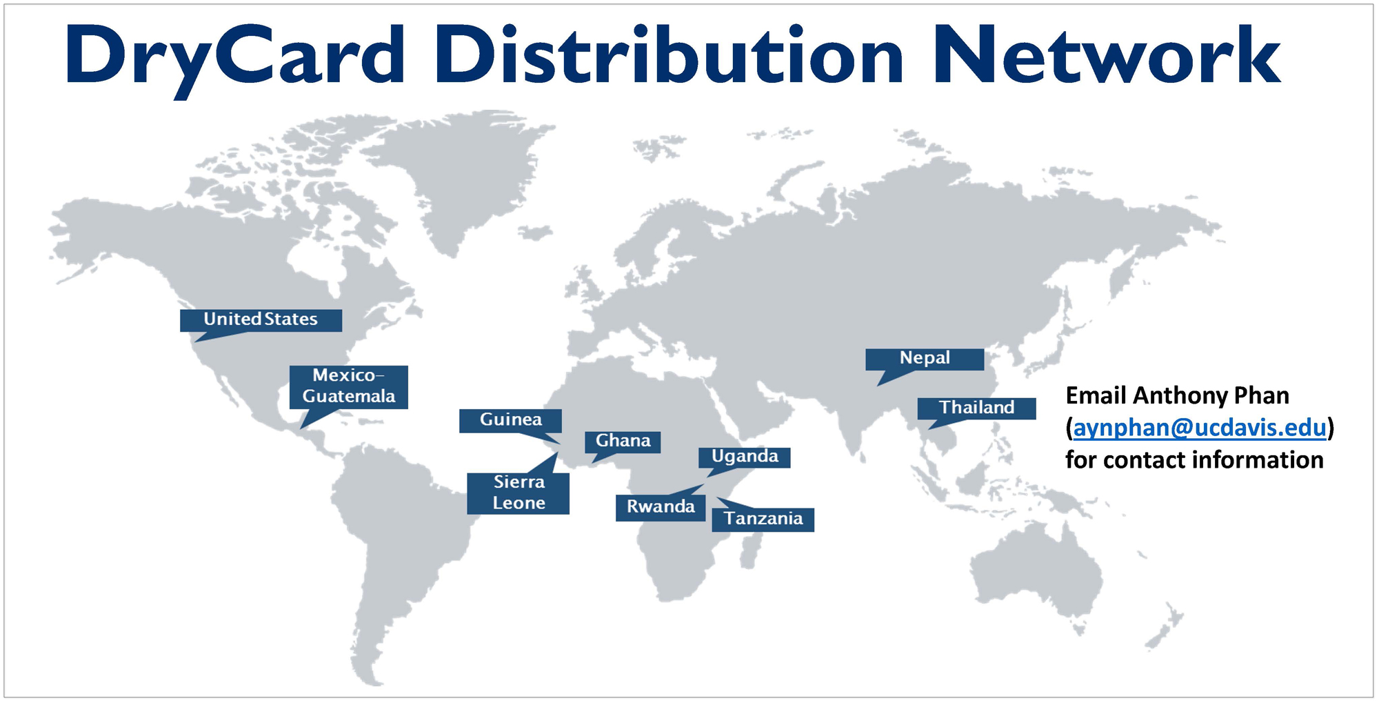 Slide shows DryCard Distribution Network map with countries labeled and 22,000+ DryCards sold
