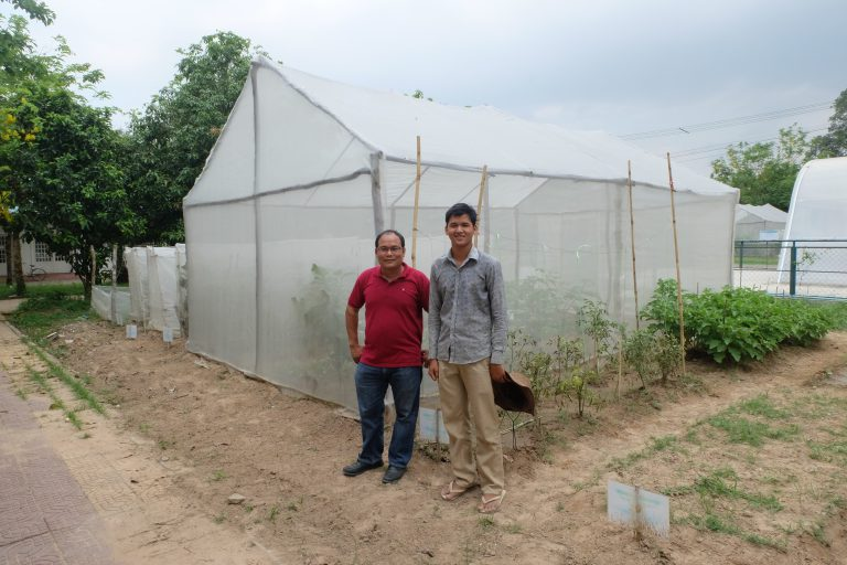 Two university scientists stand in front of net structures, with vegetable plants growing inside.