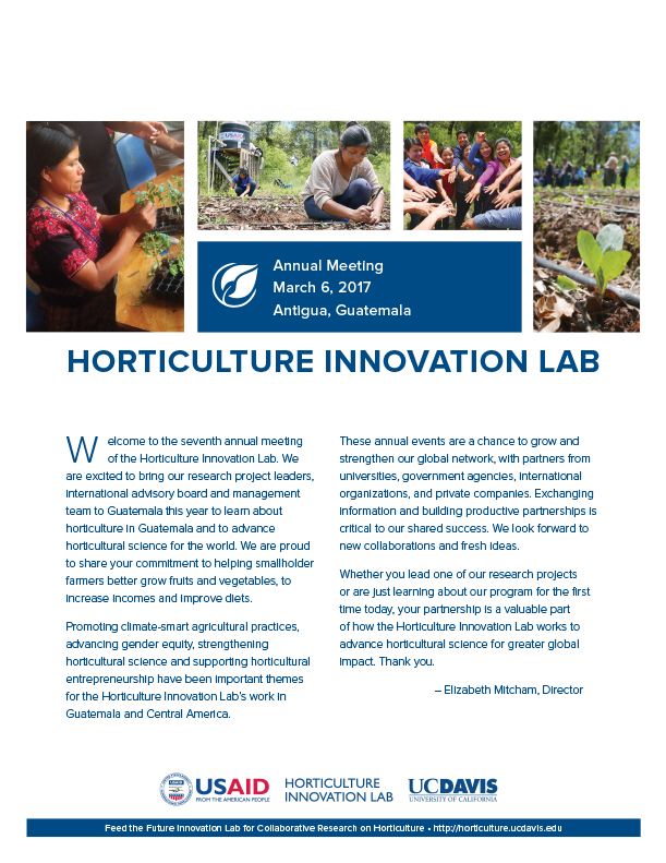 Cover of event booklet 2017 annual meeting Horticulture Innovation Lab