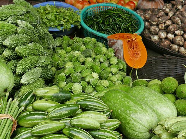 Array of vegetables at market in Bangladesh