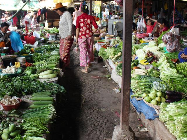 Vegetable market in Cambodia