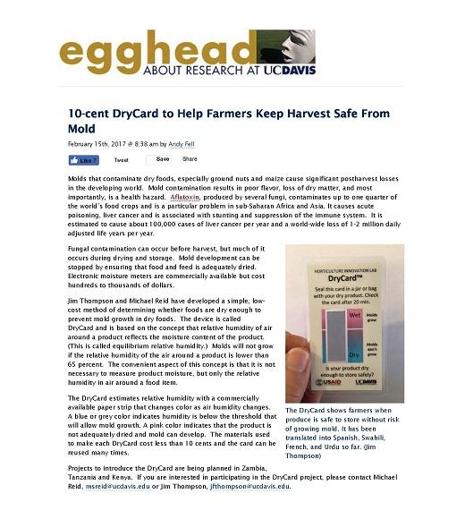 10-cent DryCard to Help Farmers Keep Harvest Safe From Mold