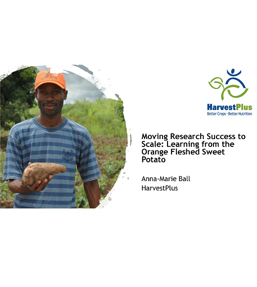 "The title slide for Anna-Marie Ball's presentation ""Moving Research Success to Scale"" features a picture of a farmer holding an orange fleshed sweet potato"