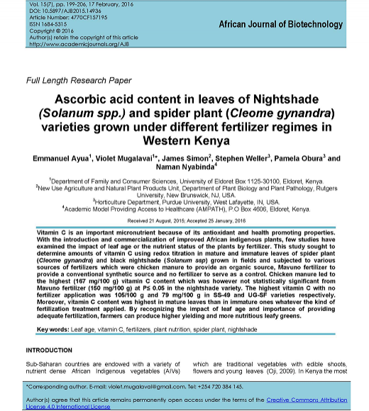 Title Page: Ascorbic acid content in leaves of Nightshade (Solanum spp.) and spider plant (Cleome gynandra) varieties grown under different fertilizer regimes in western Kenya