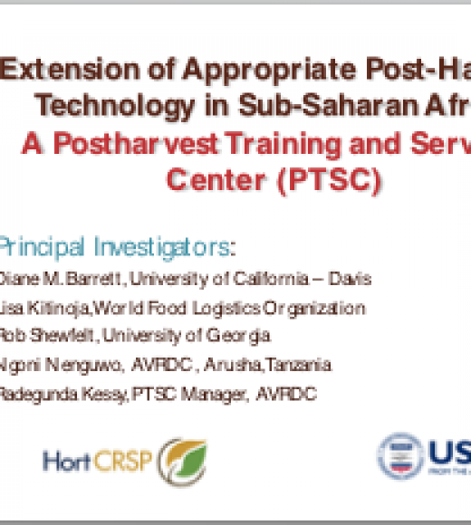 Opening a regional postharvest training and services center for Sub-Saharan Africa