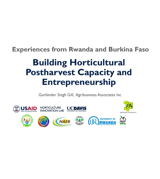Experiences from Rwanda and Burkina Faso: Building Horticultural Postharvest Capacity and Entrepreneurship Title Slide