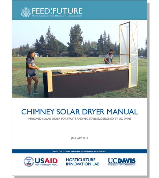 Chimney Solar Dryer Manual cover with Feed the Future, USAID, UC Davis logos