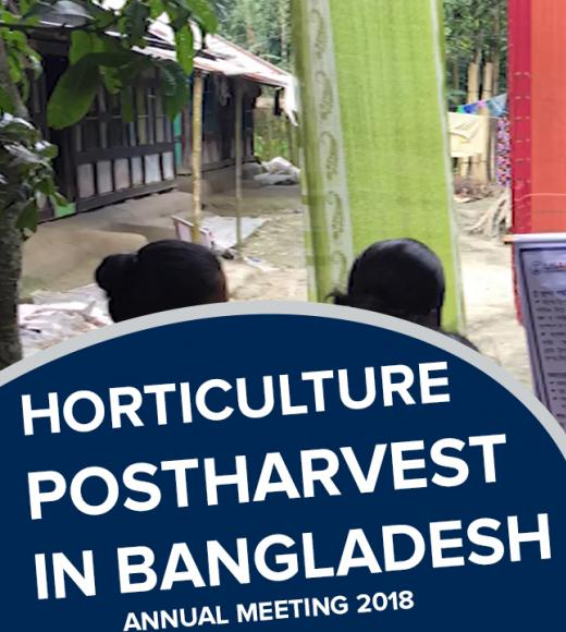 """Horticulture Postharvest in Bangladesh, annual meeting 2018"" text in from of photo of instructor and participants looking at poster"