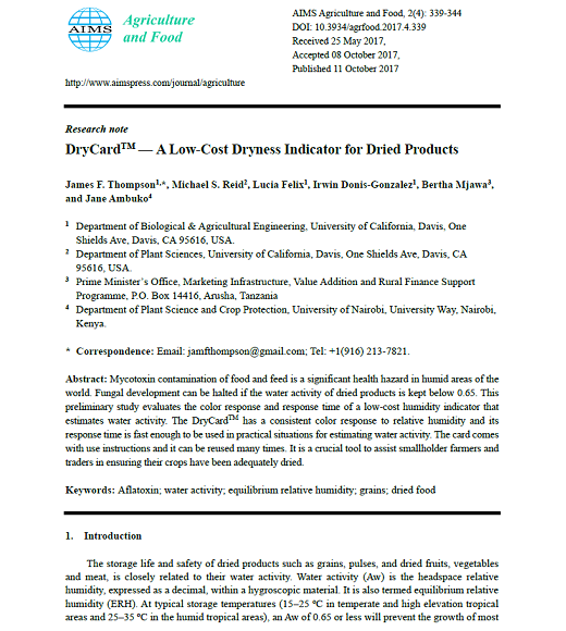 First page of article: Article PDF: DryCard™ — A low-cost dryness indicator for dried products