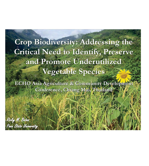 First page: Crop Biodiversity: Identify, preserve and promote underutilized vegetable species