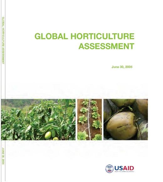 Cover of Global Horticulture Assessment with photos of vegetable crops, green text and USAID logo