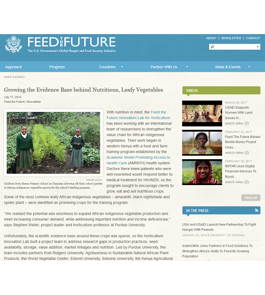 "Feed the Future newsletter article: ""Growing the evidence base behind nutritious, leafy vegetables"" - July 2014"
