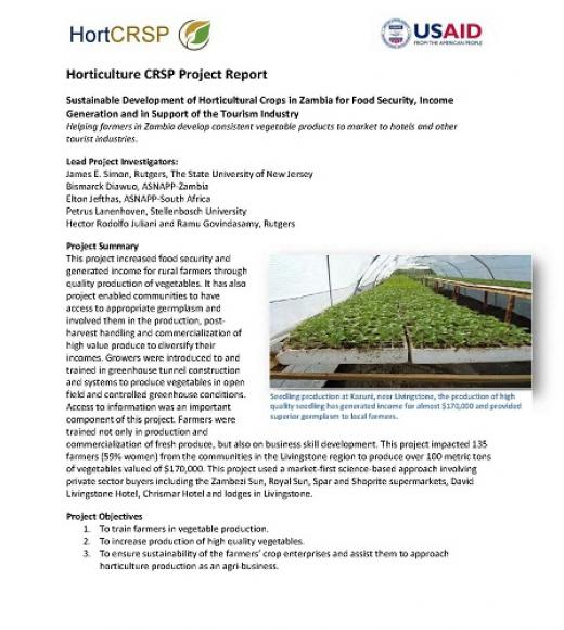 Final project report - Sustainable development of horticultural crops in Zambia in support of the tourism industry - Cover