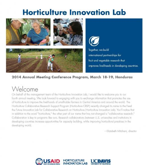 Horticulture Innovation Lab 2014 annual meeting conference program welcome page