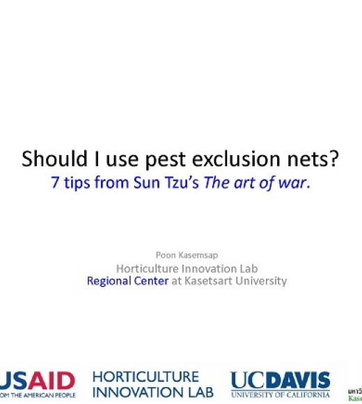 """Should I use pest exclusion nets?, 7 tups from Sun Tzu's The art of war."" title slide"