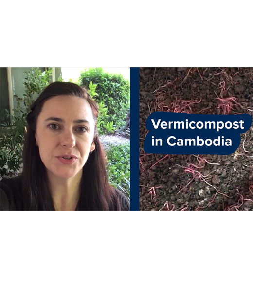 """Vermicompost in cambodia"" on photo of worms in dirt, next to photo of speaker, LeGrand"