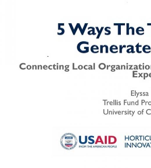 """5 Ways The Trellis Fund Generates Impact"" title slide"