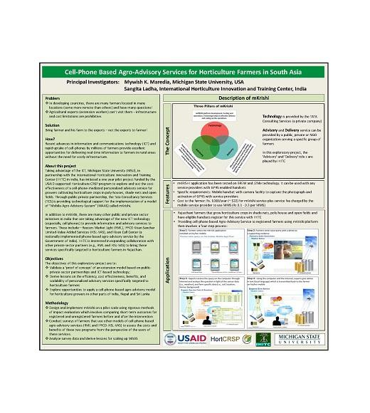 Cell phone based agro-advisory services for horticulture farmers poster