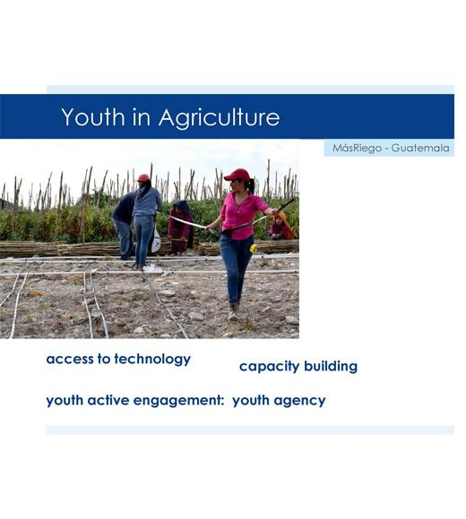 """Youth in Agriculture, MasRiego - Guatemala, access to technology, capacity building, youth active engagement: youth agency"" around photo of four people laying drip tape in a field"