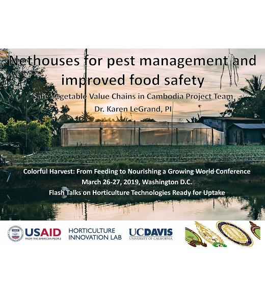 "Title slide- image of a nethouse at sunset, with text ""nethouses for pest management and improved food safety"" and logos for RUA, UBB, USAID, Horticulture Innovation Lab, UC Davis"