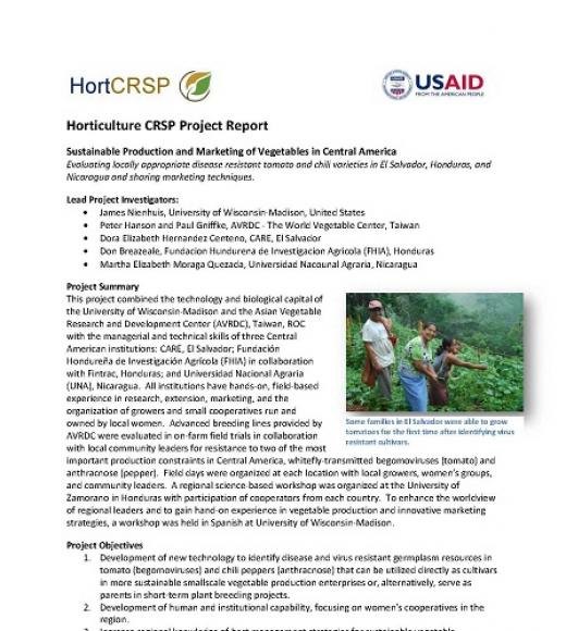 "(HortCRSP logo) ""Horticulture CRSP Project Report"" first page"