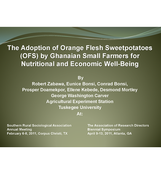 Title slide: Adoption of orange-fleshed sweet potatoes by Ghanaian small farmers for nutritional and economic well-being