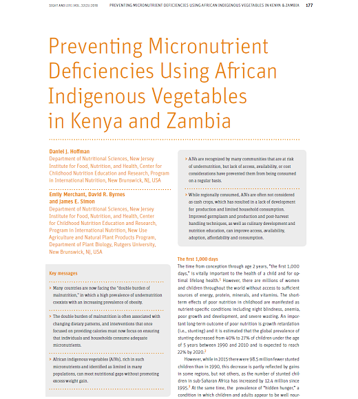 First page of article: Preventing micronutrient deficiencies using African indigenous vegetables in Kenya and Zambia