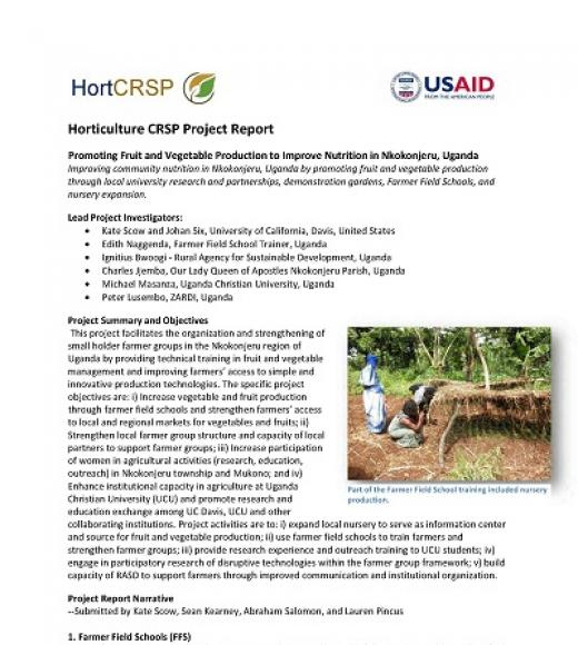 """Horticulture CRSP Project Report, Promoting Fruit and Vegetable Production to Improve Nutrition in Nkokonjeru, Uganda"" first page"