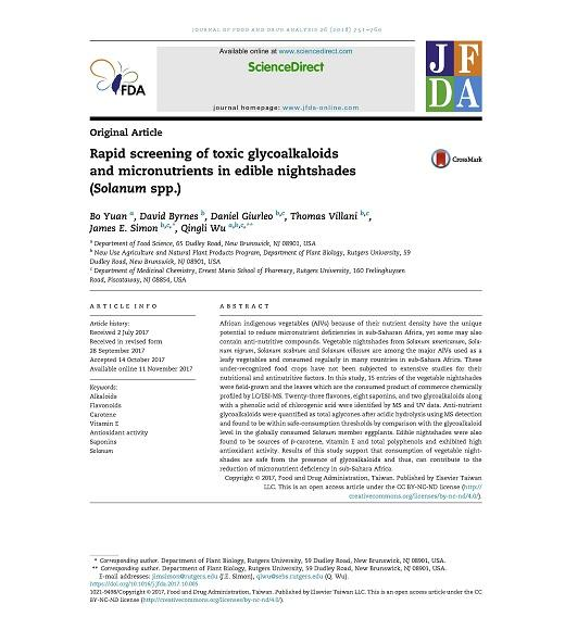 Title page of Rapid Screening of Toxic Glycoalkaloids and Micronutrition in Edible Nightshades