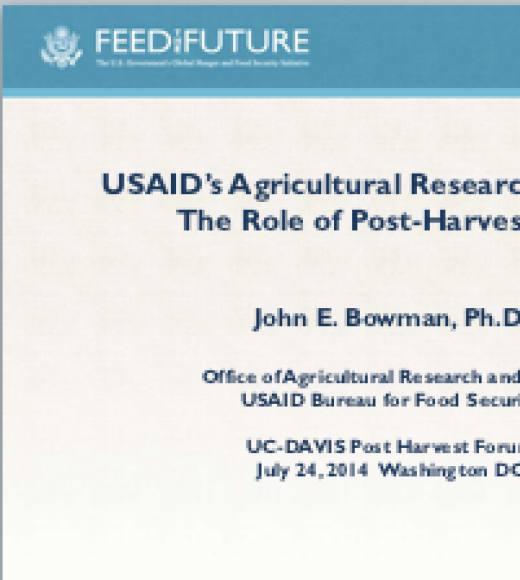The Role of Post-Harvest Loss in USAID's Agricultural Research Strategy