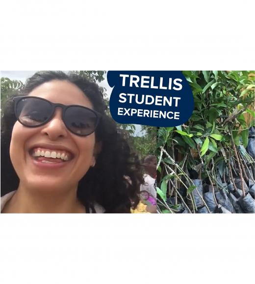 """trellis student experience"" text on photo of speaker, Karla Huerta, and citrus trees in bags"