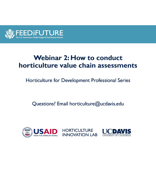 "title slide ""Webinar 2: How to conduct horticulture value chain assessments, Horticulture for Development Professional Series"""