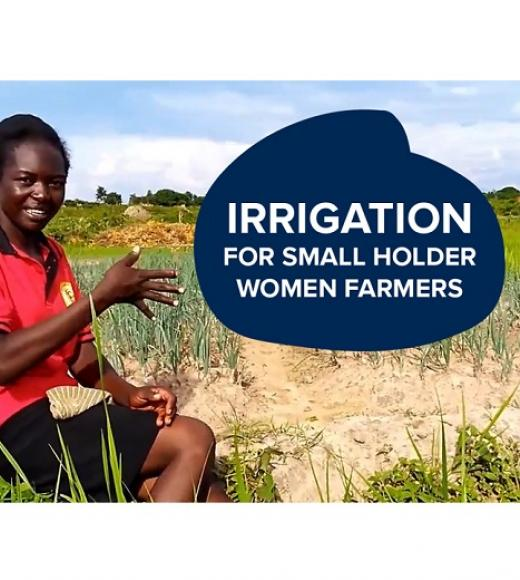 """Irrigation for smallholder women farmers"" text in front of photo of speaker, Suzan"