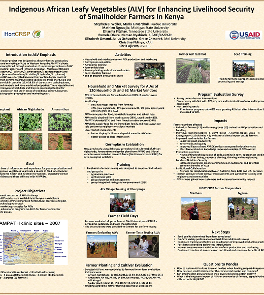 Poster: Indigenous African leafy vegetables for enhancing livelihood security of smallholder farmers in Kenya