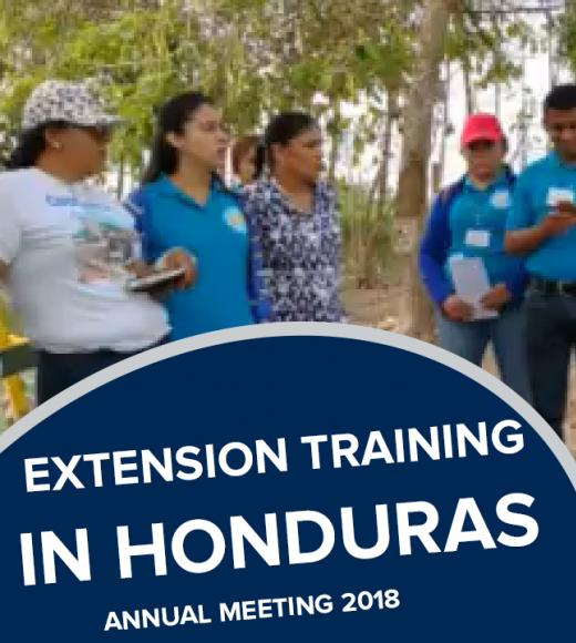 """extension training in honduras, annual meeting 2018"" text on photo of instructor and students"