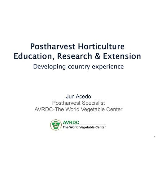 Title Slide: Postharvest horticulture education, research, and extension