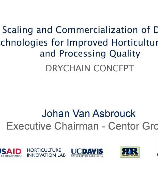 """Scaling and commercialization of drying technologies for improved horticultural seed and processing quality"" title slide"