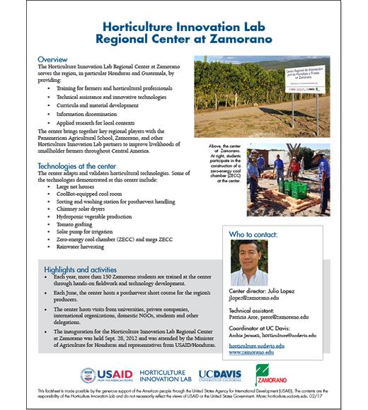 Horticulture Innovation Lab Regional Center at Zamorano - fact sheet