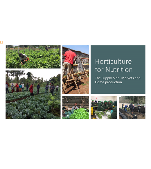 Title slide from Valerie Davis's Horticulture for Nutrition Presentation with photos of farmers in vegetable fields
