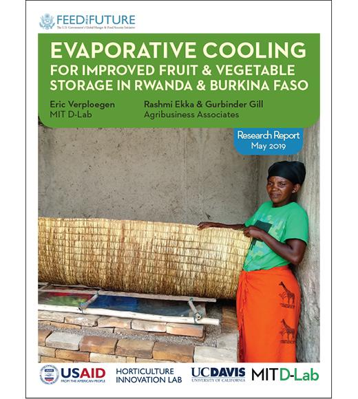 Feed the Future Evaporative Cooling report cover - May 2019- Woman farmer with ZECC - logos: USAID, Horticulture Innovation Lab, UC Davis, MIT D-Lab